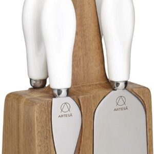 KitchenCraft Artesà Stainless Steel Cheese Knives And Block - 5 Piece Set