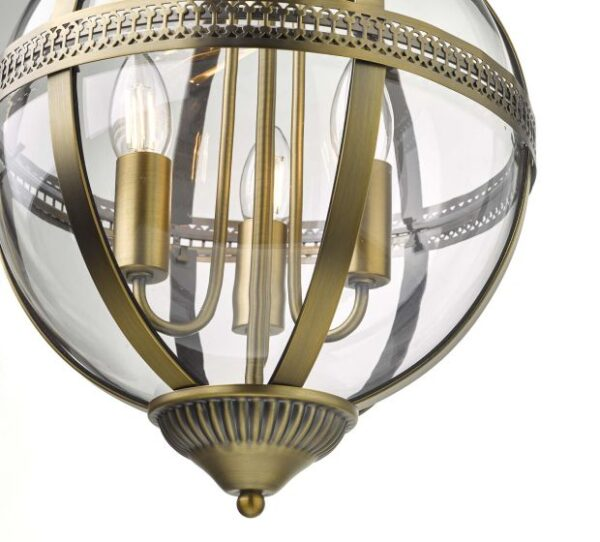 Vanessa 3 Light Pendant Antique Brass And Clear
